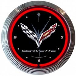 NEON CLOCK Corvette C7