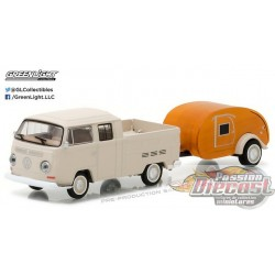 Hitch and Tow 10 - 1968 VW T2 Type 2 Double Cab Pick-Up w-Tear Drop Trailer