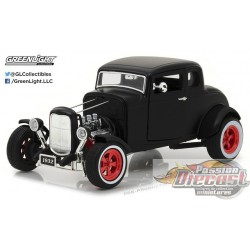 1932 Custom Ford Hot Rod - Matte Black with Red 5-Spoke Wheels Greenlight 1/18 12975 Passion Diecast