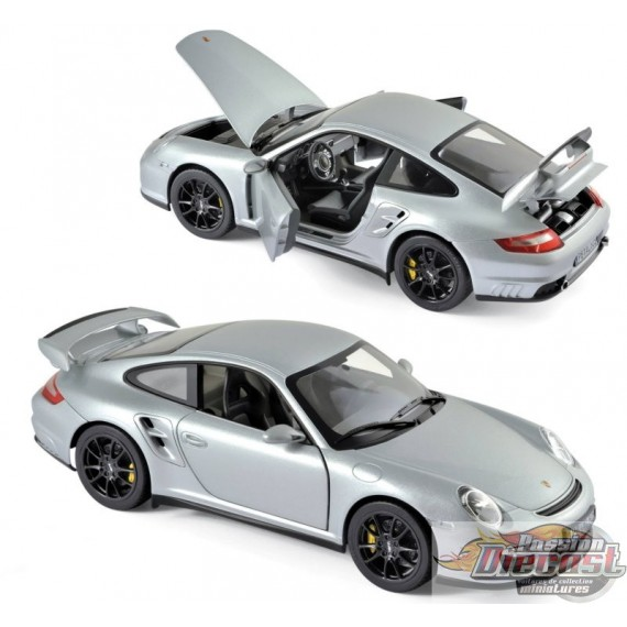 1/18 Porsche 911 GT2 2007 - Silver with black wheels 187594 Norev Passion diecast