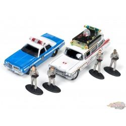 1/64 1959 Cadillac Eldorado Ecto-1A & 1977 Dodge Monaco Avec Figurines JLDR001G Johnny Lightning Passion diecast