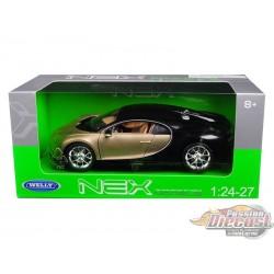 Bugatti Chiron  Noir et gold  Welly 1/24 : WL-24077-BK-GLD   Passion Diecast