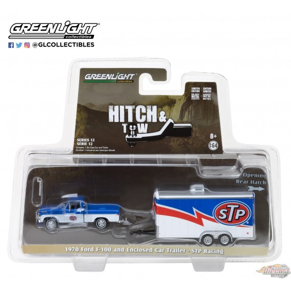 1/64 Hitch & Tow Series 12 - 1970 Ford F-100 STP et STP Racing Trailer GL-32120A GREENLIGHT PASSION DIECAST