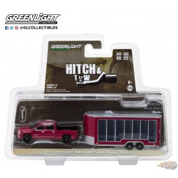 1/64 Hitch & Tow Series 12 - 2016 Chevrolet Silverado and Glass Display Trailer GL-32120B GREENLIGHT PASSION DIECAST