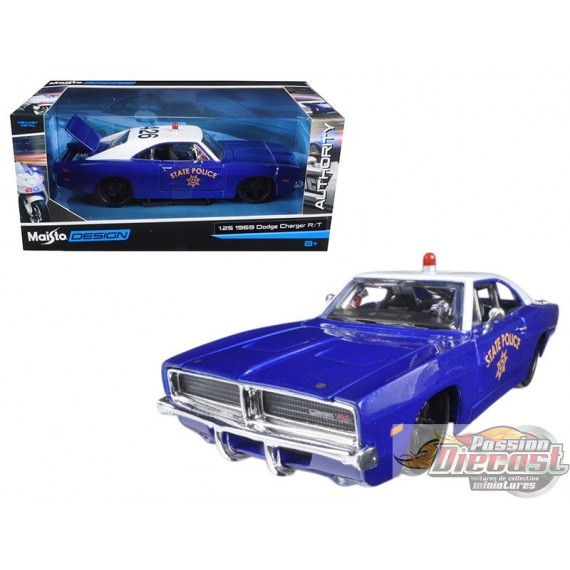 1/24 1969 Dodge Charger R/T State Police Car Blue MMX-32519 motormax passion diecast