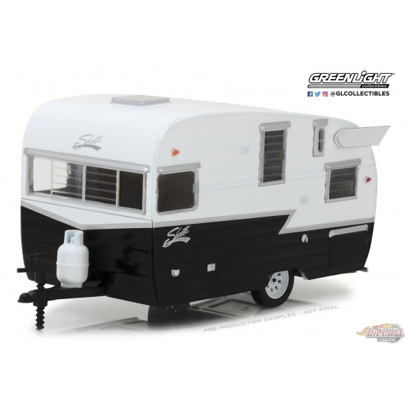 1/24 Hitch and Tow Series 4 -Shasta 15 Airflyte -Blanc et Noir GL-18440B Greenlight passion diecast