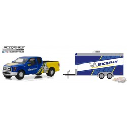 1/64  2016 Ford F-150 Michelin Tires and Michelin Tires Racing Trailer GL-32130C greenlight passion diecast