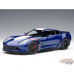 Chevrolet Corvette Grand Sport ADMIRAL BLUE WITH WHITE STRIPES AND RED FENDER STRIPE Autoart 1/18   AA-71275  Passion Diecast