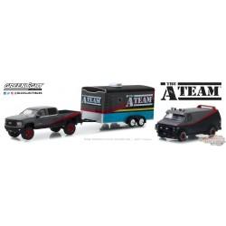 1/64 The A-Team - 2015 Chevy Silverado et 1983 GMC Vandura avec trailer GL-31060B Greenligh Passiondiecast