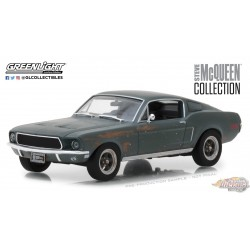 1968 Ford Mustang GT Fastback Non Restoré Steve McQueen Collection  Greenlight 1/43  86437