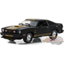 Greenlight 1/43 1977 Ford Mustang Cobra II - Noir et Bandes Gold GL-86319  PASSION DIECAST