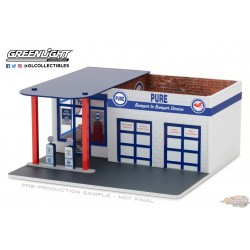 Mechanic's Corner 3 - Gas Station - Pure Oil 1:64 GreenLight  57031  Passion diecast