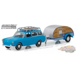 1/64 Hitch and Tow series 14 1961 VW Type 3 Squareback w Tear Drop Trailer GL-32140A greenlight passion diecast