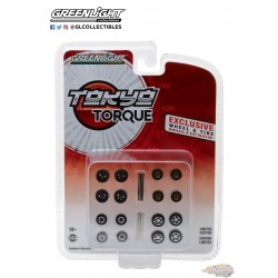 1:64 Tokyo Torque Wheel & Tire Pack - 16 Wheels, 16 Tires, 4 Axles (Hobby Exclusive) Passion Diecast GL-13163