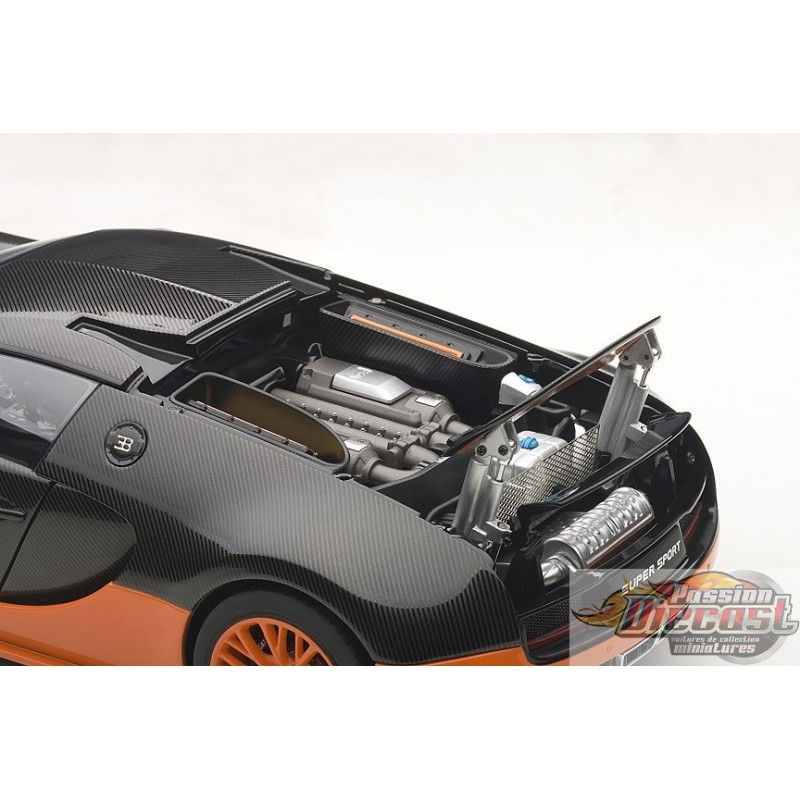Bugatti Veyron Super Sport Black Orange: 1/18 BUGATTI VEYRON SUPER SPORT (CARBON BLACK/ORANGE SIDE