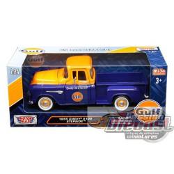 "1955 Chevrolet 5100 Stepside Pickup Truck ""Gulf"" Dark Blue   Motormax 1/24 79651 Passion Diecast"