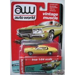 1974 PLYMOUTH ROAD RUNNER JAUNE AUTO WORLD'S PREMIUM 1/64 AWSP002 A  Passion Diecast