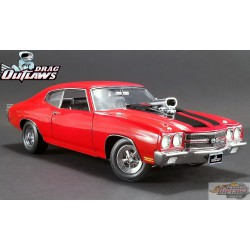 DRAG OUTLAWS 1970 CHEVROLET CHEVELLE  ROUGE  ACME 1/18  A1805511 Passion Diecast