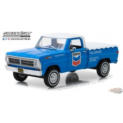 1972 Ford F-100 with Bed Cover - Chevron Full Service Running on Empty 1 Greenlight 85013 1/24  Passion Diecast