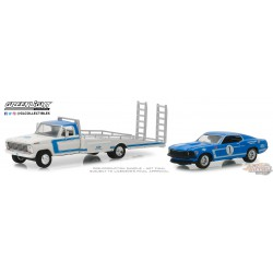 1969 Ford F-350 Ramp Truck & 1969 Ford Mustang Boss 302 NO.1 Greenlight 33150A 1-64 Passion Diecast