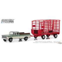 Ford F-100 Farm 1969 & Ranch Special (Long Bed) avec Bale Throw Wagon Greenlight 32150A 1-64 Passion Diecast