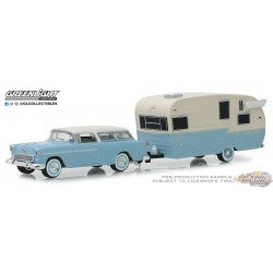 Chevrolet Nomad 1955  and Shasta Airflyte with Awning   Hitch & Tow Series 16 Greenlight 32160A 1-64 Passion Diecast