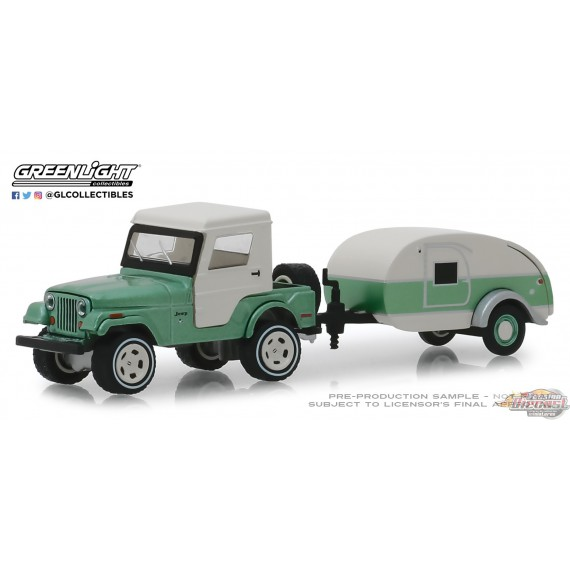Jeep CJ-5 Half-Cab 1972 et Teardrop Trailer Hitch & Tow Series 16 Greenlight 32160B 1-64 Passion Diecast