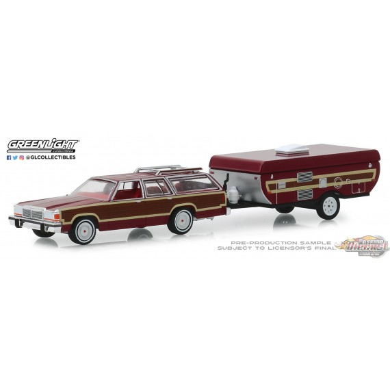 Ford LTD Country Squire 1981  & Pop-Up Camper Trailer  Hitch & Tow Series 16 Greenlight 32160C 1-64 Passion Diecast
