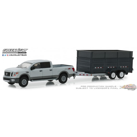 Nissan Titan XD Pro-4X 2018 & Double-Axle Dump Trailer Hitch & Tow Series  16 Greenlight 32160D 1-64 Passion Diecast