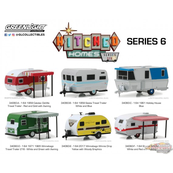 Hitched Homes Series 6  Assortiment Greenlight 34060 1/64 Passion Diecast