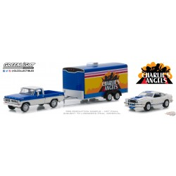Ford F-100 1972 &  Ford Mustang II Cobra II 1976 avec trailer fermé Charlie's Angels Greenlight 31070A 1-64 Passion Diecast