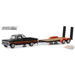 1977 Ford F-100 and  Flatbed Trailer   Hitch & Tow Series 17 Greenlight 32170 B  1-64  Passion Diecast