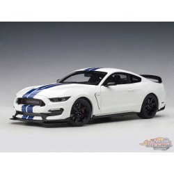 FORD SHELBY MUSTANG GT350R OXFORD WHITE W/ BLUE STRIPES)  AUTOART 1/18  72931  Passion Diecast