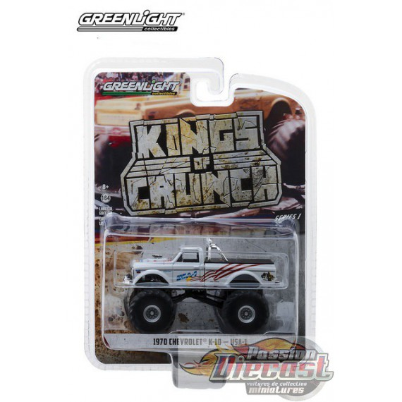 USA-1 - 1970 Chevy K-10 Monster Truck Kings of Crunch Series 1  GreenLight 1/64   49010-B Passion Diecast