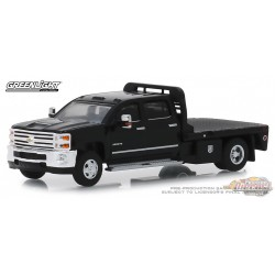 2018 Chevrolet Silverado 3500 Dually Flatbed in Black Dually Drivers Series 1   greenlight 1-64 - 46010 A Passion Diecast