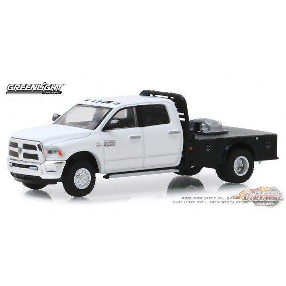 2019 Ram 3500 Dually Flatbed in White  Dually Drivers Series 1   greenlight 1-64 - 46010 F  Passion Diecast