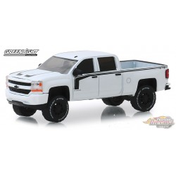 2017 Chevrolet Silverado Rally 2 in White with Black Stripes   All-Terrain Series 8   1-64 greenlight 35130 E  Passion Diecast
