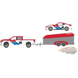 2019 Nissan Titan XD Pro-4X and BRE no 46  Nissan 370Z with Aerovault MKII Trailer  1/64 Greenlight 31090C  Passion Diecast