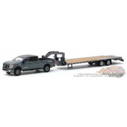 2018 Nissan Titan XD Pro-4X and Gooseneck Trailer, Hitch & Tow 19, 1/64 Greenlight 32190 C Passion Diecast