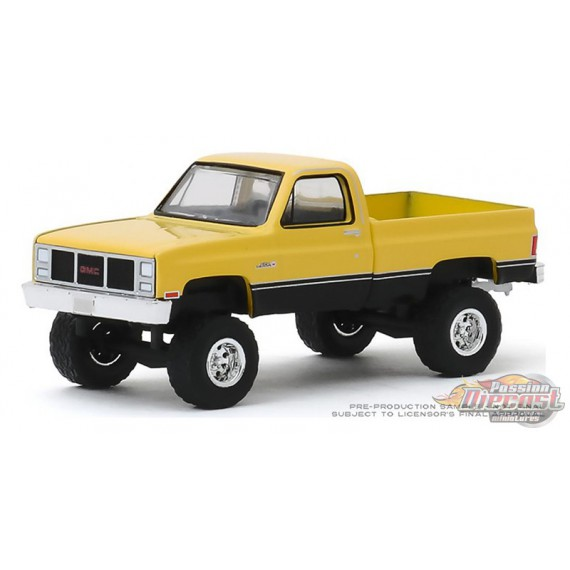 1987 GMC High Sierra in Colonial Yellow and Black  All-Terrain 9, 1-64 greenlight 35150 C  Passion Diecast