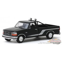 1992 Ford F-150 4x4 - Raven Black with Silver Stripes  All-Terrain 9, 1-64 greenlight 35150 D  Passion Diecast