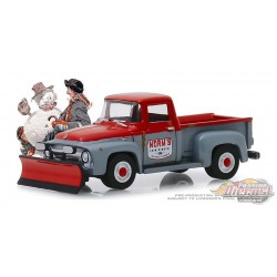 1956 Ford F-100 avec chasse-neige - Déneigement Norm's   - Norman Rockwell Series 2 - 1-64 Greenlight 54020 C Passion Diecast