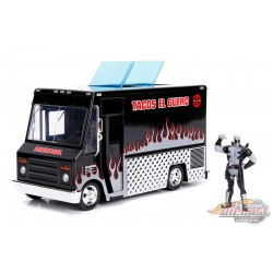 Tacos El Guero Food Truck in Black with Deadpool Figure in White  -  Jada 1/24 -  30540  - Passion Diecast