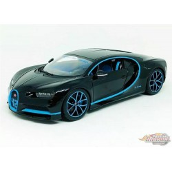 Bugatti Chiron Black with blue stripe - 1:18 Bburago - 18-11040 BK-42  -  Passion Diecast