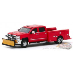 2018 Chevrolet Silverado 3500  Service Bed with Snow Plow,Dually Drivers  3  - 1-64  Greenlight - 46030 A - Passion Diecast