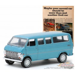 1968 Ford Club Wagon  Blue  -Vintage Ad Cars Series 2 - 1-64 Greenlight 39030 C  -  Passion Diecast