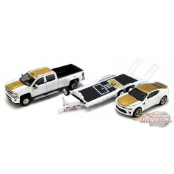 Hurst Performance - 2018 Chevrolet 3500 Dually Pickup with  Camaro SS on Trailer - Acme 1/64 -  51323 - Passion Diecast