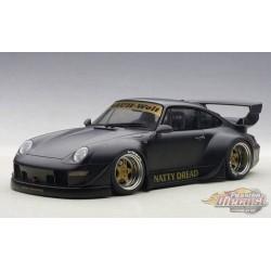 Porsche 993 RWB  Mat Black Gold Wheels  Autoart 78154 1/18 - Passion Diecast