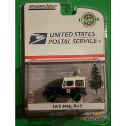 1972 Jeep DJ-5 with Christmas Tree Accessory United States Postal Service (USPS)  (Hobby Exclusive) 1/64 Greenlight 30118