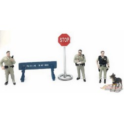 Sheriff  6 piece Diecast Set - 4 Figurines and  Accessories -  American Diorama 1-64 - 38403 - Passion Diecast